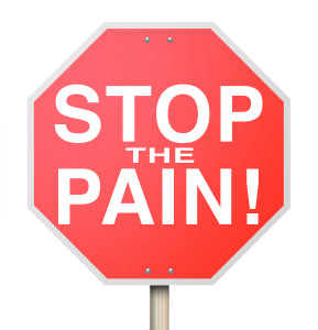 Stop the Pain Sign End Ache Discomfort Cure Medicate Medicine